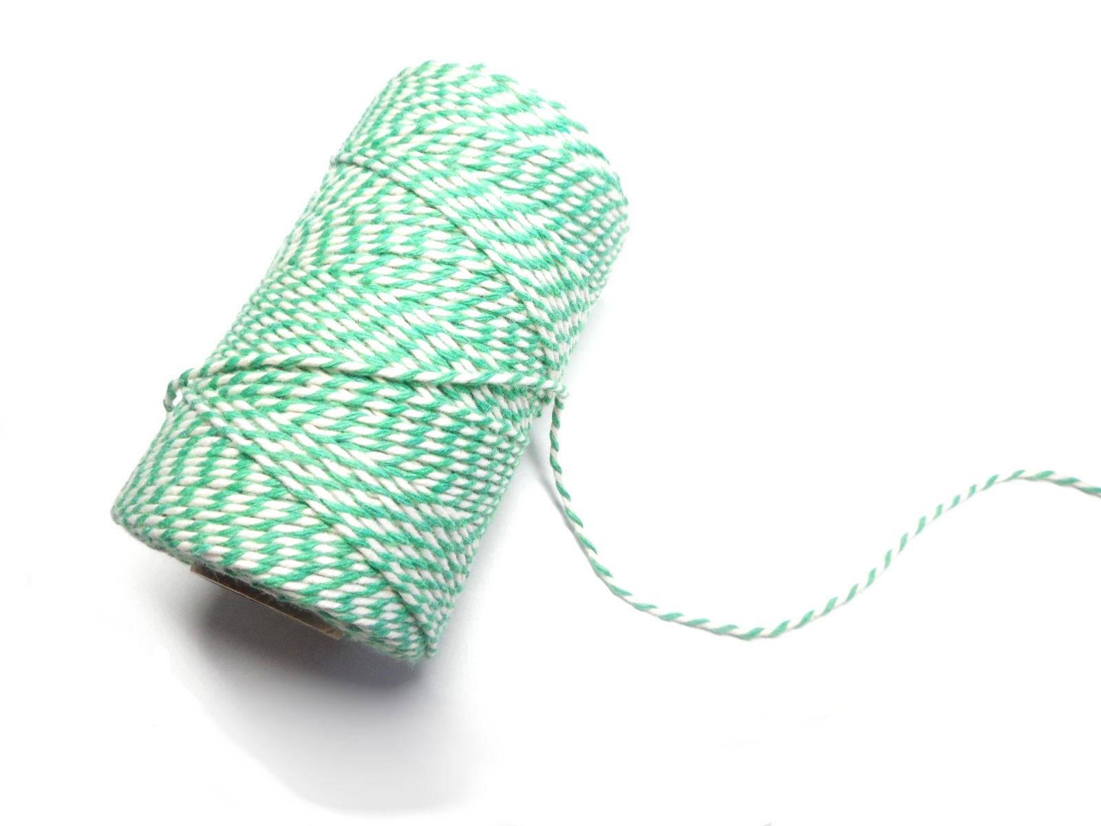 """Coupon de 10 mètres de ficelle """"Baker twine"""", vert émeraude et blanc, 2 mm"""
