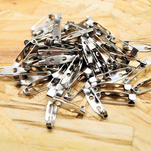 100 fermoirs sécurisés, épingles supports  broche, couleur argenté gun, 20*5*5 mm