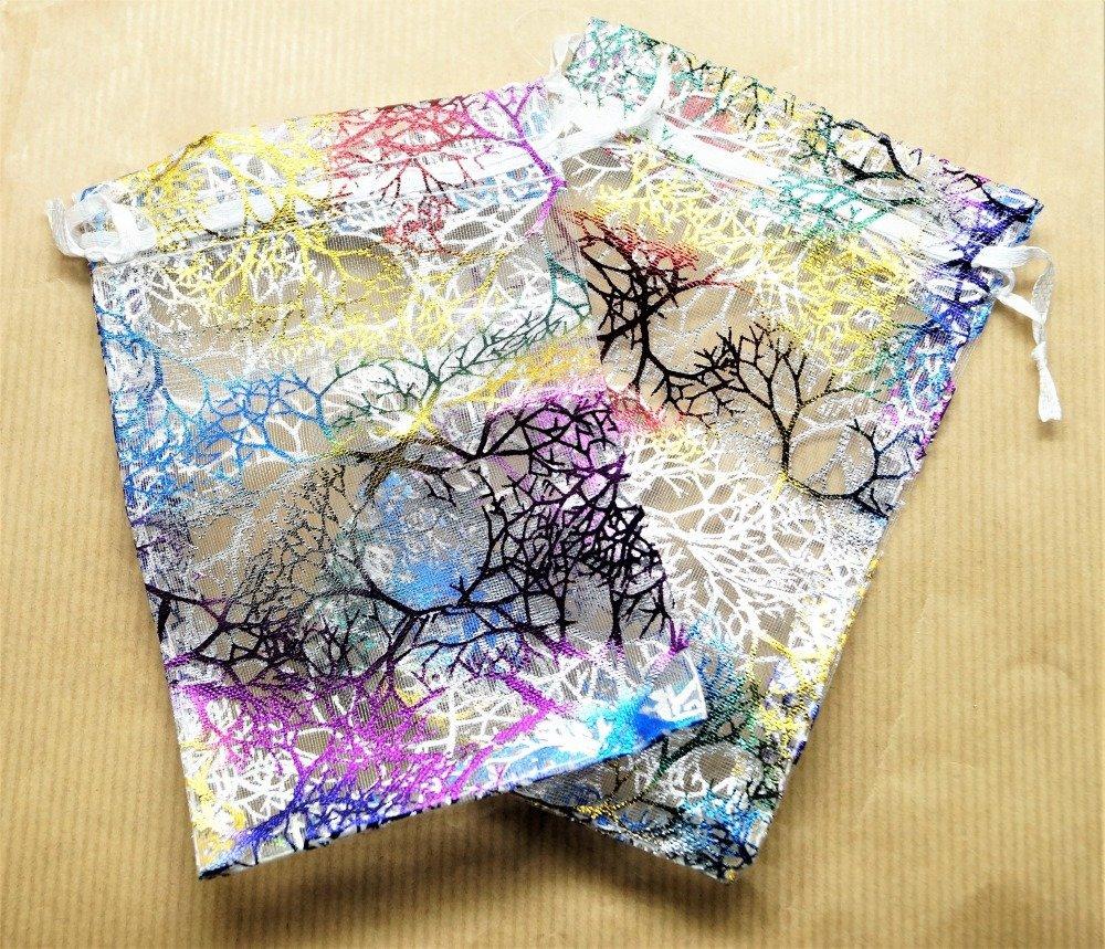 Lot de 10 Pochettes organza multicolore, 90*70 mm, avec lien de serrage