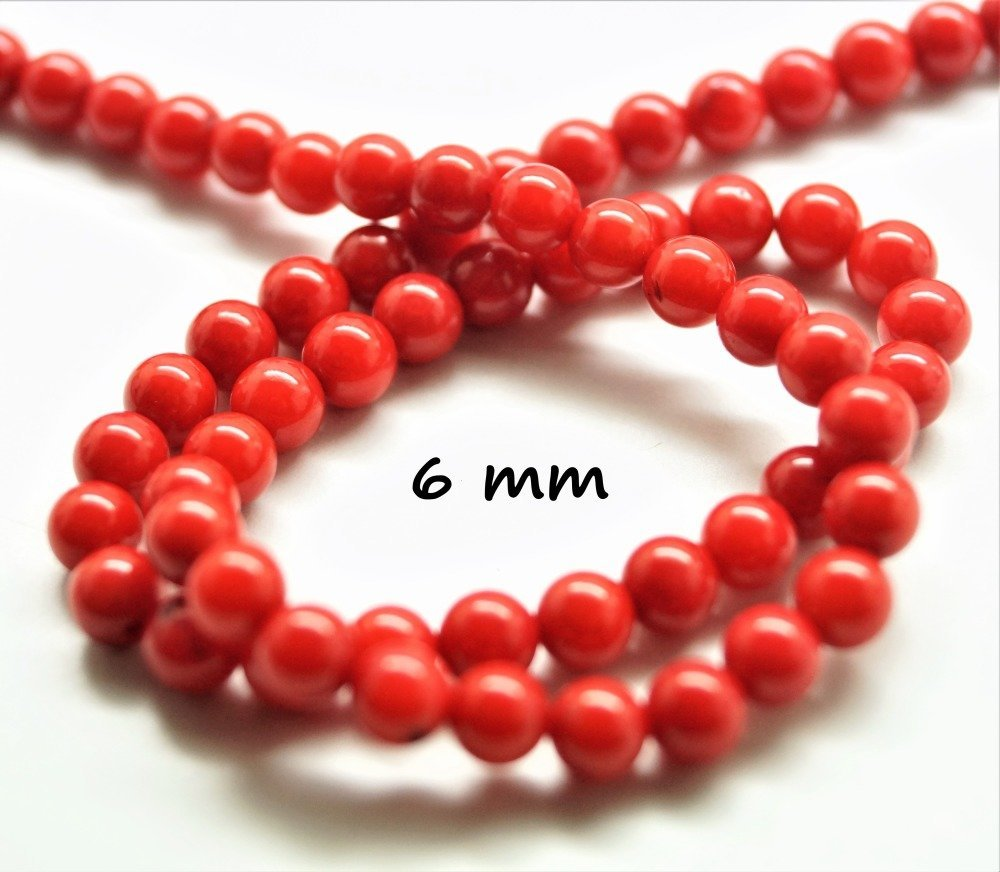 20 perles naturelles corail rouge 6 mm