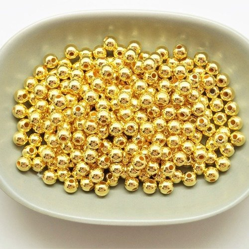 250 perles rondes 6 mm acryliques dorées