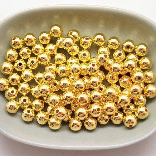100 perles 8 mm rondes acryliques dorées