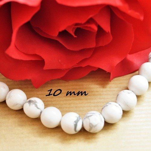 Perles rondes 10 mm howlite blanche