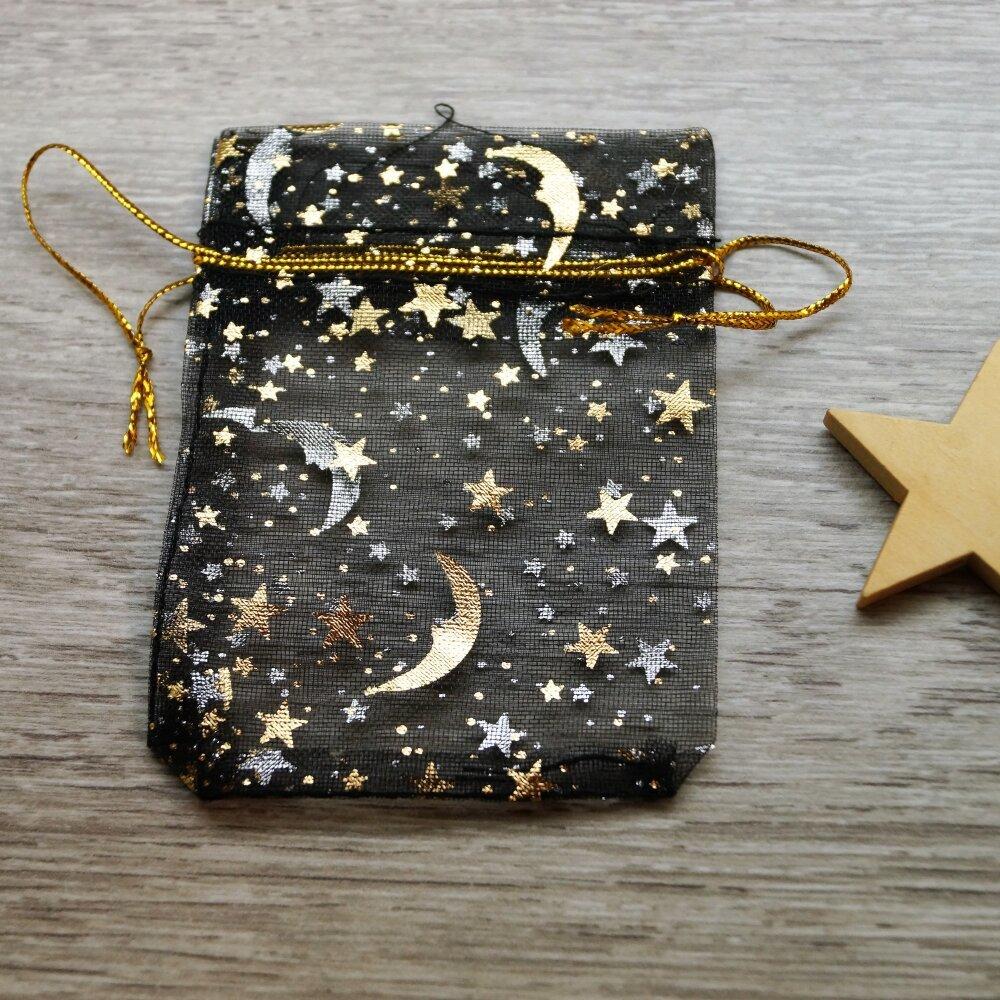 Sacs cadeaux organza noirs et dorés étoiles et lune par lot de 10, 7*9 cm