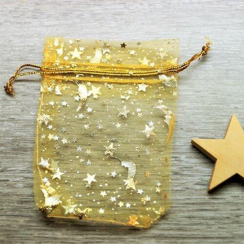 Sacs cadeaux organza dorés étoiles et lune par lot de 10, 7*9 cm