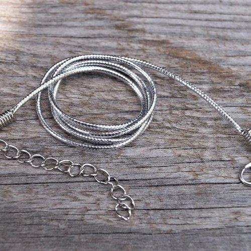 5 cordons, colliers ciré métallisé argenté avec mousqueton et chaînette d'extension argentés, 53 cm