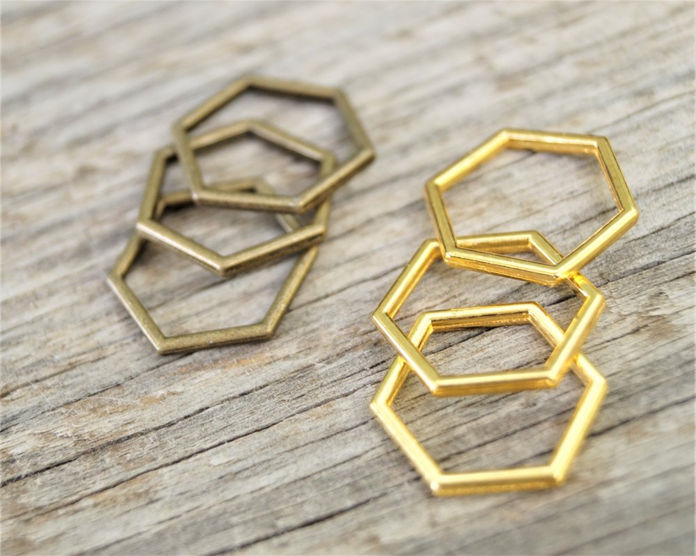 10 Connecteurs bijoux 17*15 m hexagone alvéole d'abeille bronze