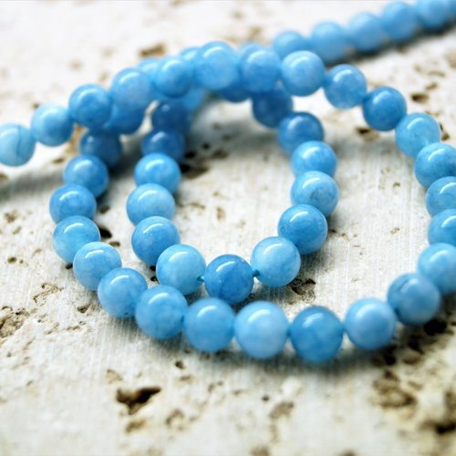 Perles aigue-marine 6 mm par lot de 10