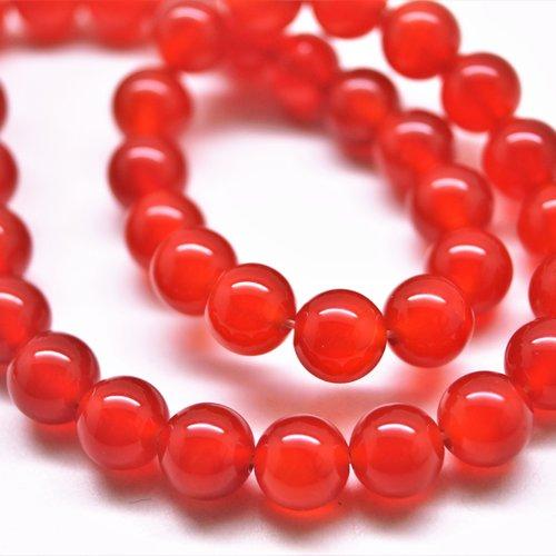 10 perles cornaline ronde 10 mm