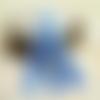 Lot de 10 breloques pompons tassel glands soie à franges, bleu clair,  13 cm
