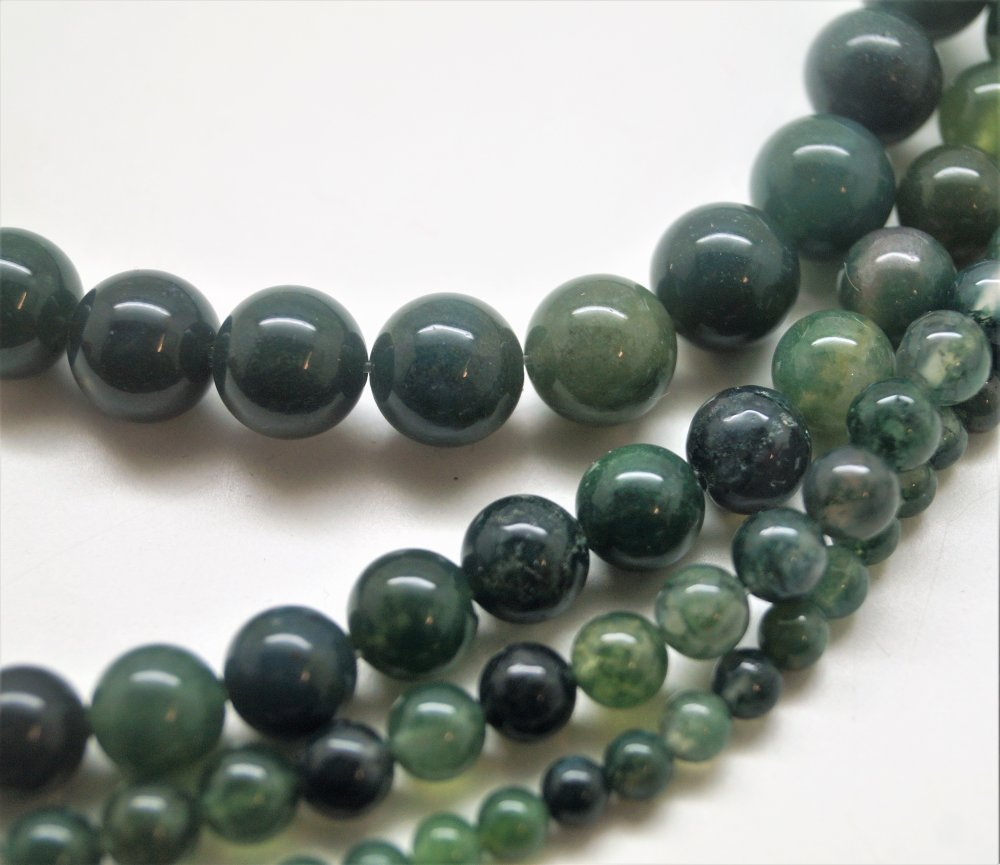 10 Perles Agate mousse 6 mm