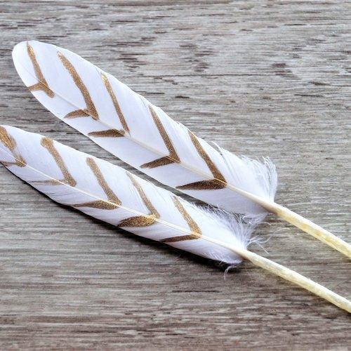 Plumes naturelles de canard blanches et dorées, 10 à 15 cm