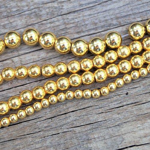 10 perles hématite 8 mm rondes doré brillant