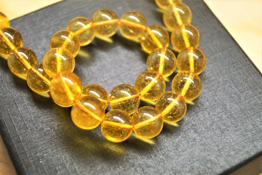 10 Perles Citrine naturelle ronde 10 mm