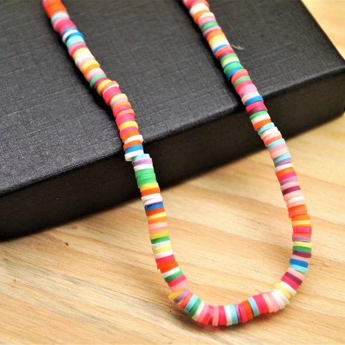 400 perles heishi katsuki 4 mm multicolores en pâte polymère