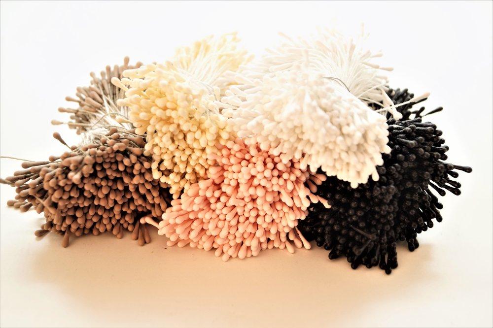 100 Étamines blanches pour fleurs artificielles avec épaisseur de 1,5 mm