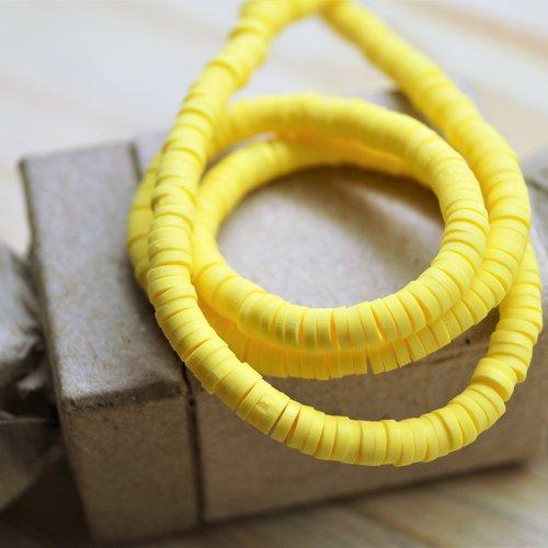 400 perles heishi katsuki 4 mm jaune en pâte polymère