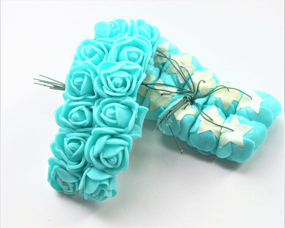 4 bouquets de 12 mini roses vert lagon artificielles 20 mm