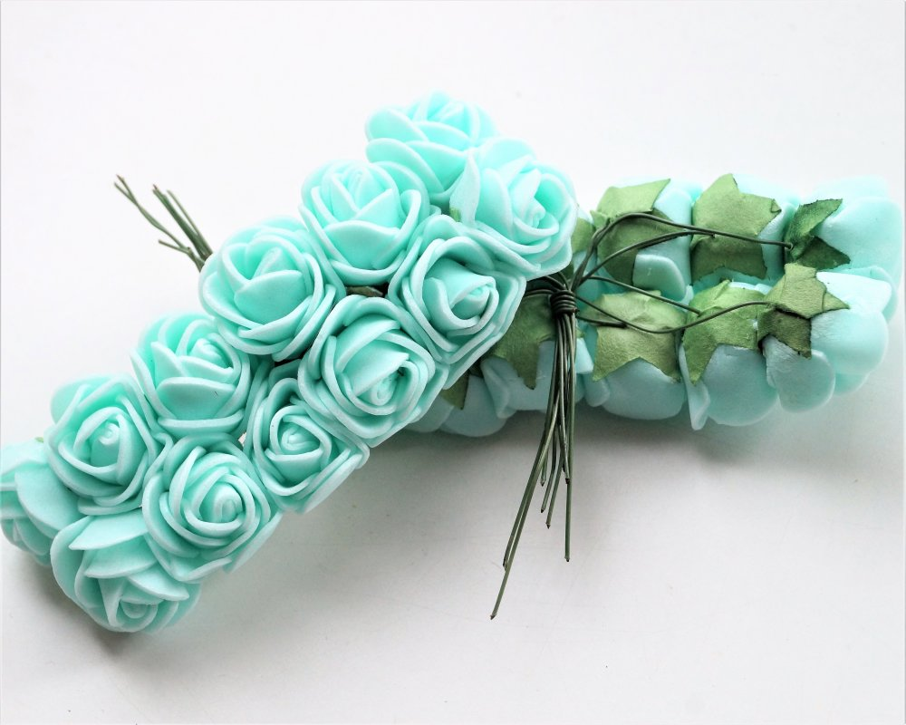 4 bouquets de 12 mini roses vert clair artificielles 20 mm