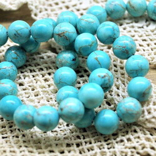 Perles turquoise bleue 10 mm