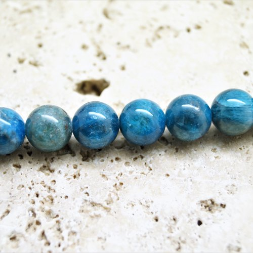 5 perles apatite bleu 8 mm