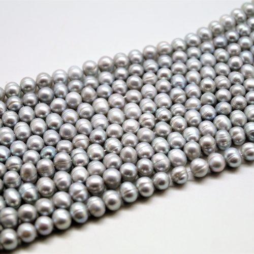 10 perles d'eau douce gris 6 à 7 mm