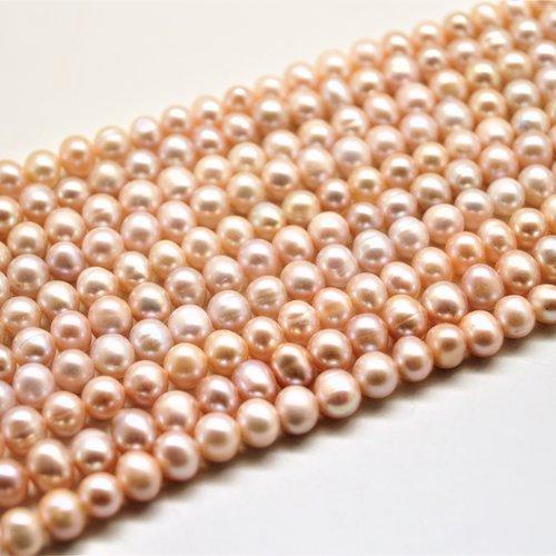 10 perles d'eau douce vieux rose 6 à 7 mm