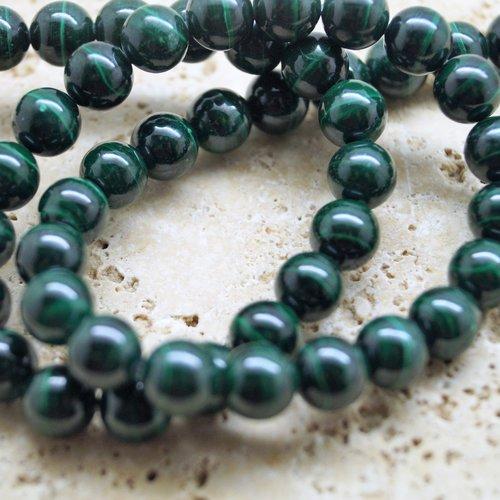 5 perles malachite 10 mm