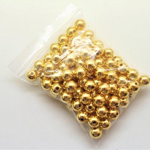 50 perles 10 mm rondes acryliques dorées