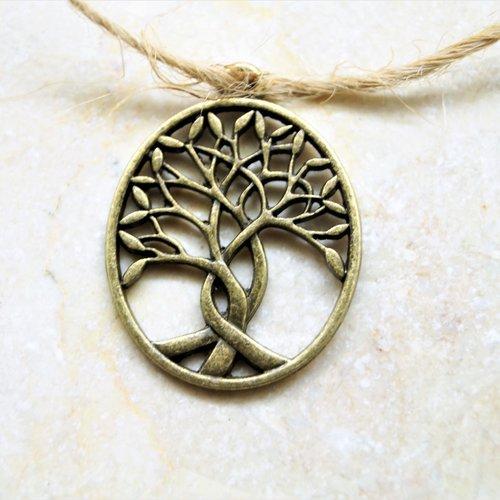 2 pendentifs arbre de vie bronze 32*24 mm