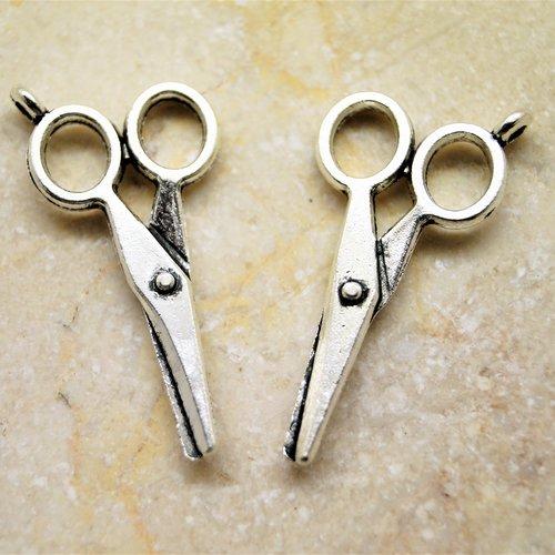 5 breloques ciseaux en métal argenté 33*16 mm