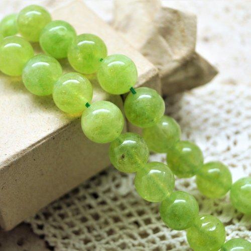 10 perles péridot vertes 10 mm