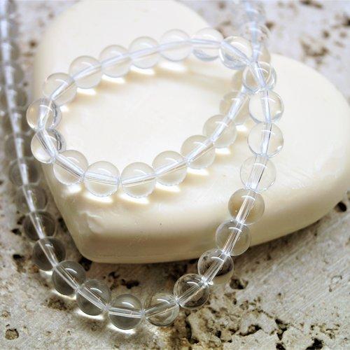 Perles quartz translucide  10 mm