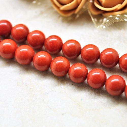 Perles corail rouge orangé 8 mm