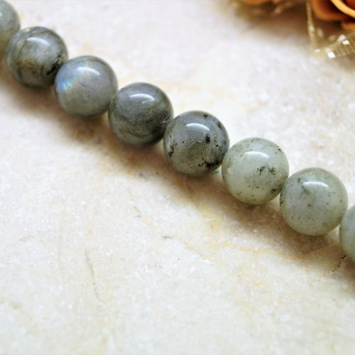 10 labradorite perle ronde grise 10 mm