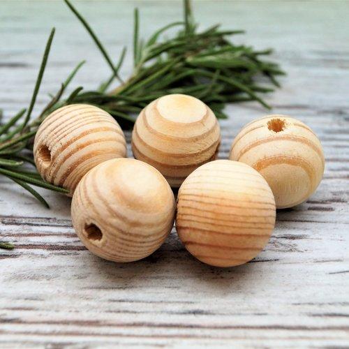 Perles rondes bois naturel rayé 20 mm par lot de 10