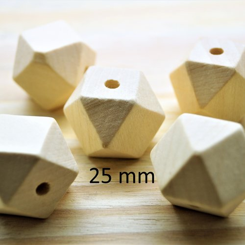 5 perles 25 mm polygones bois naturel