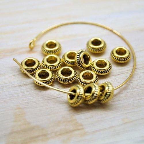 10 perles intercalaires rondes plates en métal 7*3 mm