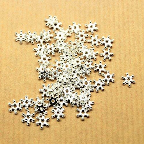 50 perles intercalaires flocons argenté brillant 7*6 mm