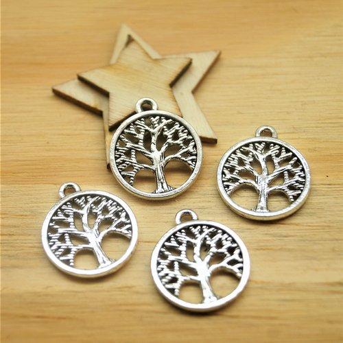 10 pendentifs arbre de vie argentés 18*15 mm