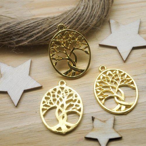 2 pendentifs arbre de vie doré 32*24 mm
