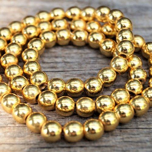 10 perles hématite 4 mm rondes doré brillant