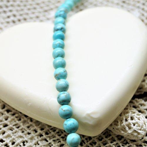 Perles howlite turquoise bleue 4 mm