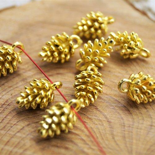5 pendentifs pomme de pin métal doré 12*7 mm