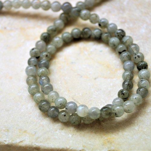 10 labradorite perle ronde grise 4 mm