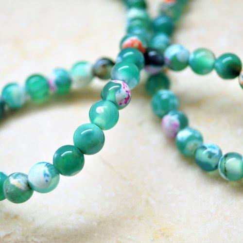 10 perles agate de feu verte 6 mm