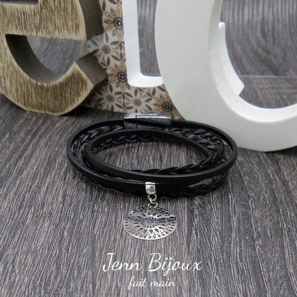 ★ Bijoux de créateur ★- Bracelet cuir 2 tours et son estampe de couleur noir et métal argenté - Réf:BRA010