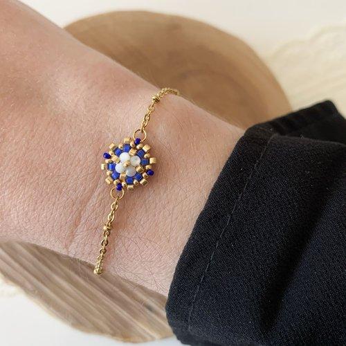 Bracelet flora bleu cyan fait main acier inoxydable doré