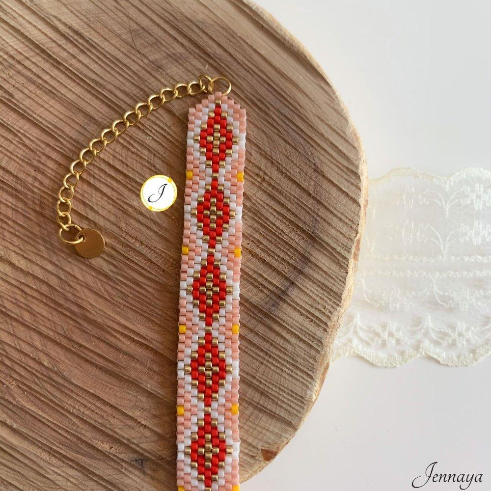 Bracelet Rahiri : perles Miyuki, acier inoxydable doré, modèle unique