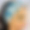 Bandeau démaquillage ou soins du visage en éponge bambou et tissu coton palmes bleues